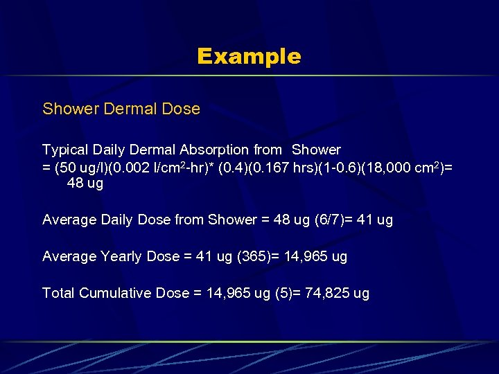 Example Shower Dermal Dose Typical Daily Dermal Absorption from Shower = (50 ug/l)(0. 002