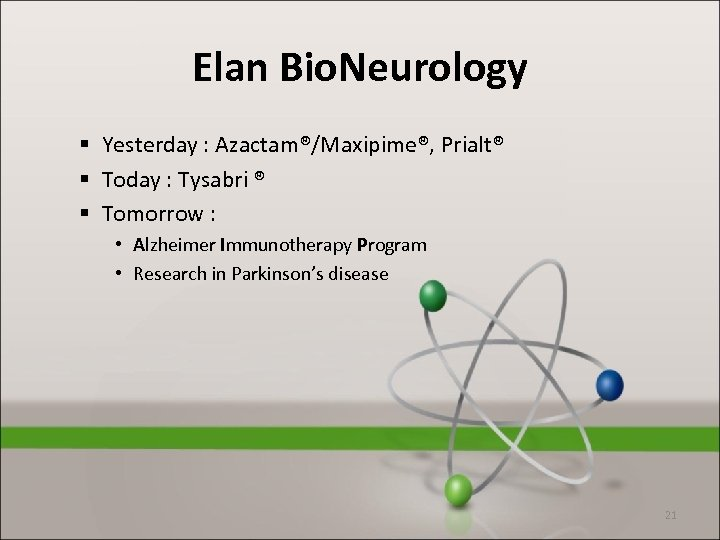 Elan Bio. Neurology § Yesterday : Azactam®/Maxipime®, Prialt® § Today : Tysabri ® §