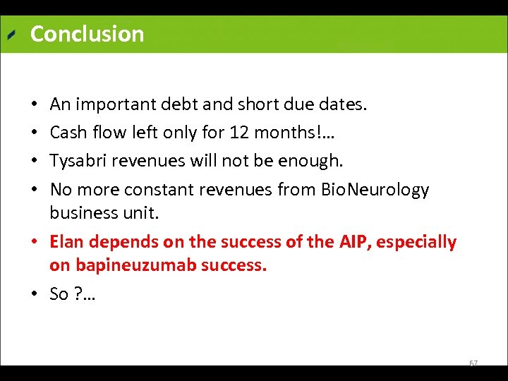 Conclusion An important debt and short due dates. Cash flow left only for 12