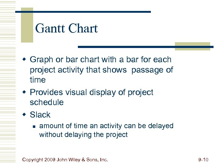 Gantt Chart w Graph or bar chart with a bar for each project activity