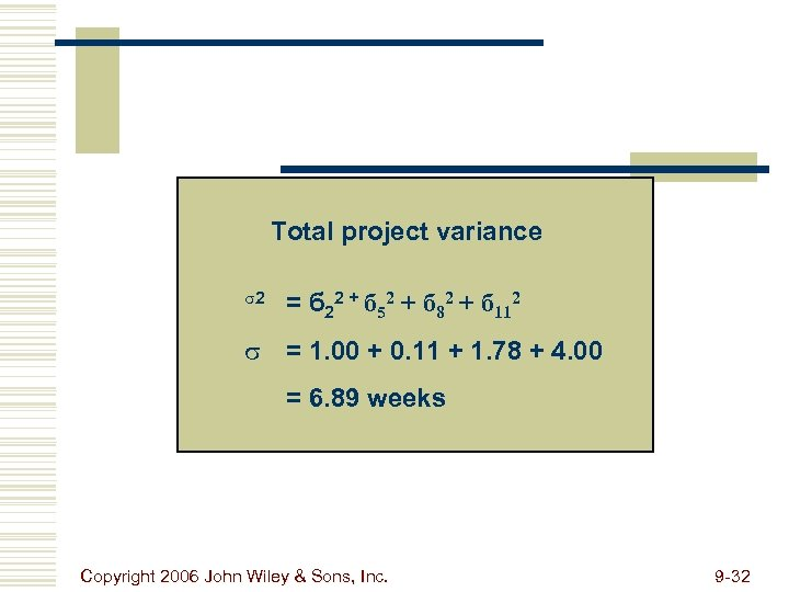 Total project variance s 2 = б 22 + б 52 + б 82