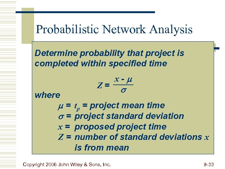 Probabilistic Network Analysis Determine probability that project is completed within specified time where Z=