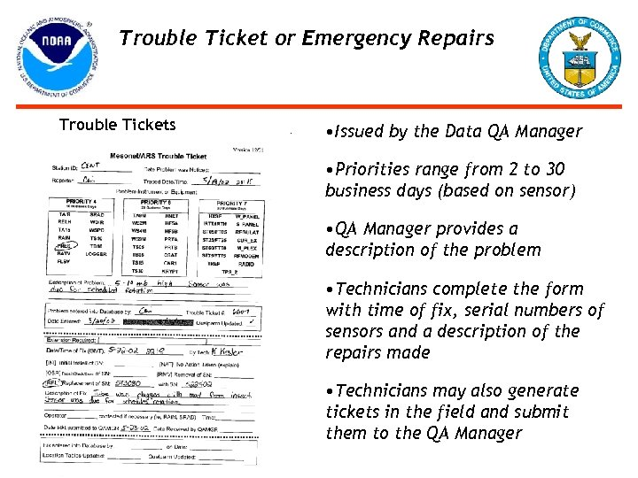 Trouble Ticket or Emergency Repairs Trouble Tickets • Issued by the Data QA Manager