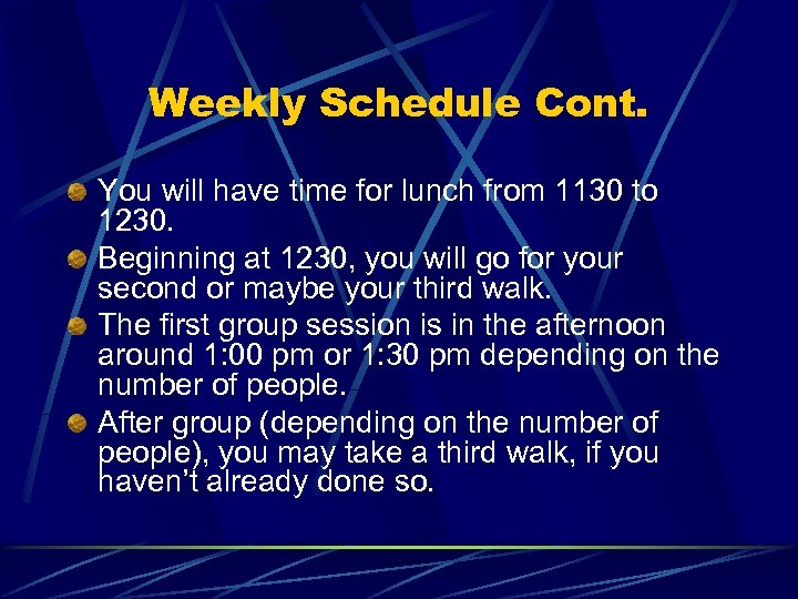 Weekly Schedule Cont. You will have time for lunch from 1130 to 1230. Beginning