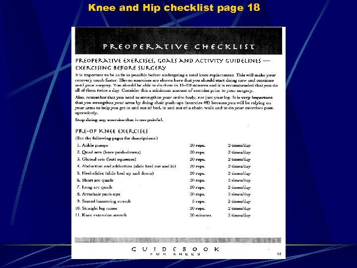 Knee and Hip checklist page 18