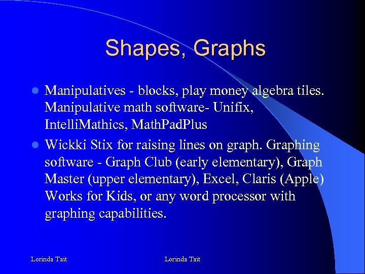 Shapes, Graphs Manipulatives - blocks, play money algebra tiles. Manipulative math software- Unifix, Intelli.