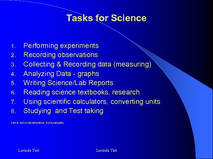 Tasks for Science 1. 2. 3. 4. 5. 6. 7. 8. Performing experiments Recording