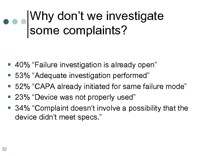 "Why don't we investigate some complaints? § § § 32 40% ""Failure investigation is"