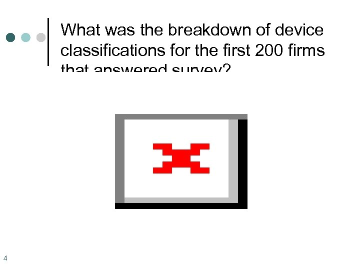 What was the breakdown of device classifications for the first 200 firms that answered