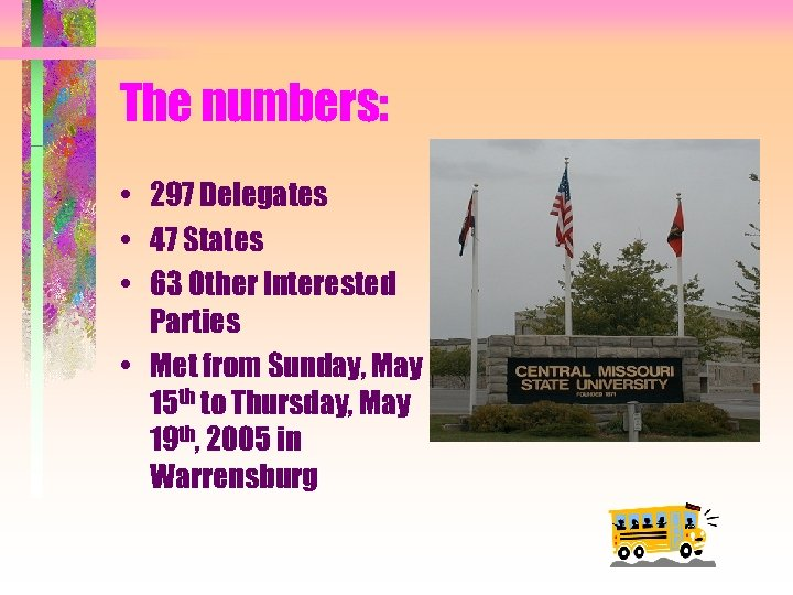 The numbers: • 297 Delegates • 47 States • 63 Other Interested Parties •