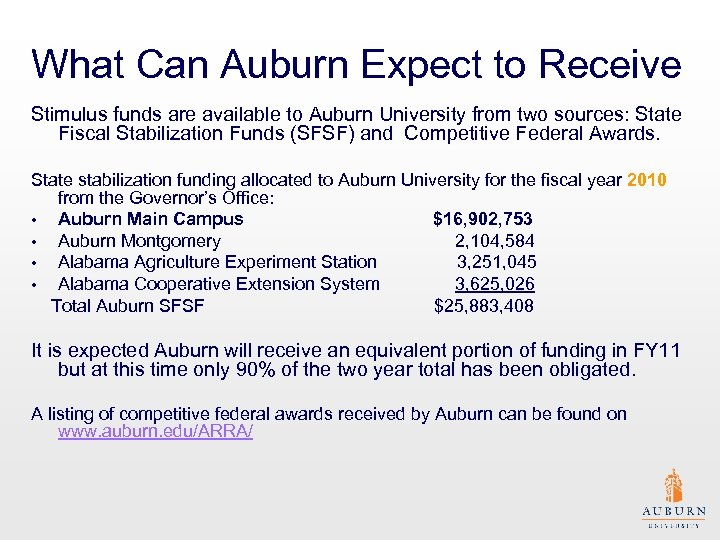 What Can Auburn Expect to Receive Stimulus funds are available to Auburn University from