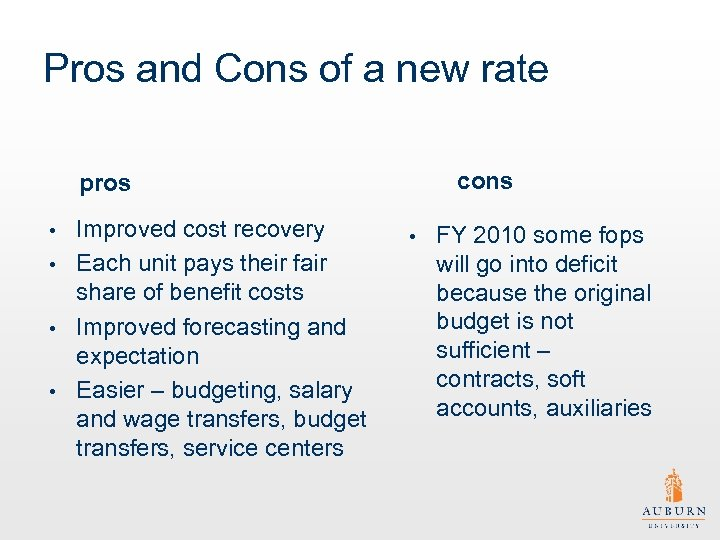 Pros and Cons of a new rate cons pros Improved cost recovery • Each