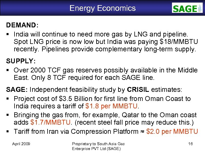 Energy Economics SAGE DEMAND: India will continue to need more gas by LNG and