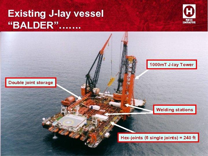 """Existing J-lay vessel """"BALDER""""……. 1000 m. T J-lay Tower Double joint storage Welding stations"""