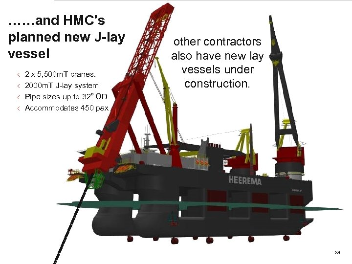 ……and HMC's planned new J-lay New Build Vessel vessel < < 2 x 5,