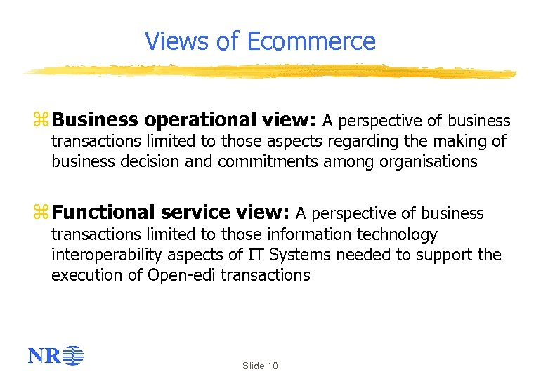 Views of Ecommerce z Business operational view: A perspective of business transactions limited to