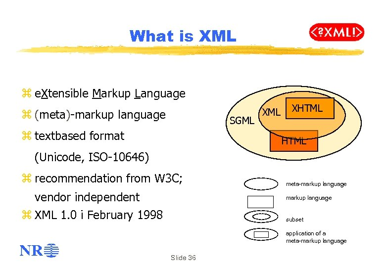 What is XML z e. Xtensible Markup Language z (meta)-markup language SGML z textbased