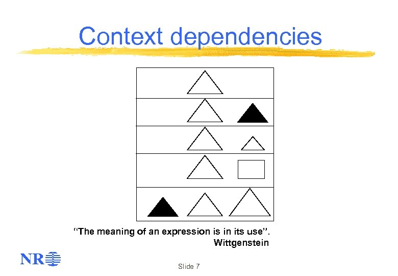 "Context dependencies ""The meaning of an expression is in its use"". Wittgenstein Slide 7"