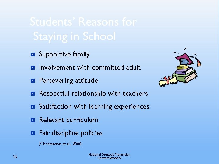 Students' Reasons for Staying in School ¥ Supportive family ¥ Involvement with committed adult