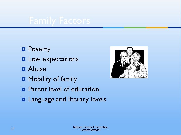 Family Factors ¥ ¥ ¥ 17 Poverty Low expectations Abuse Mobility of family Parent