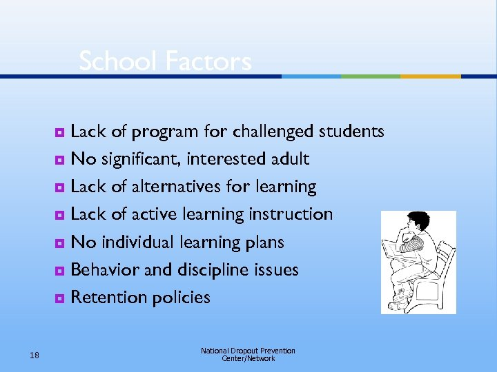 School Factors Lack of program for challenged students ¥ No significant, interested adult ¥