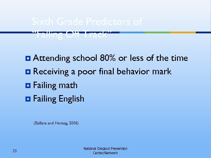 """Sixth Grade Predictors of """"Falling Off Track"""" ¥ Attending school 80% or less of"""