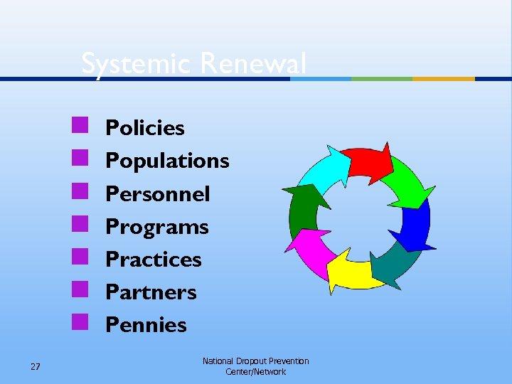 Systemic Renewal n n n n 27 Policies Populations Personnel Programs Practices Partners Pennies