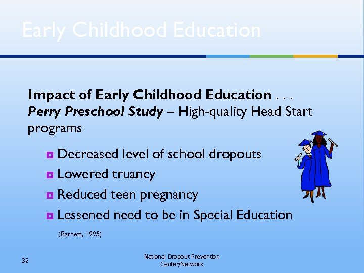 Early Childhood Education Impact of Early Childhood Education. . . Perry Preschool Study –