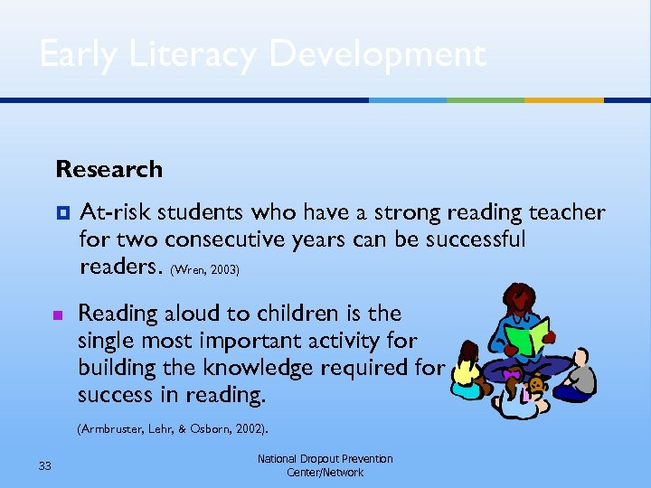 Early Literacy Development Research ¥ n At-risk students who have a strong reading teacher