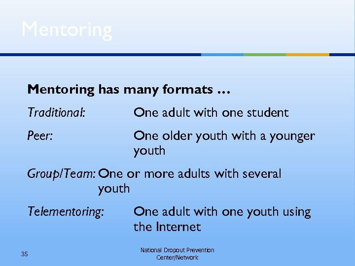 Mentoring has many formats … Traditional: One adult with one student Peer: One older