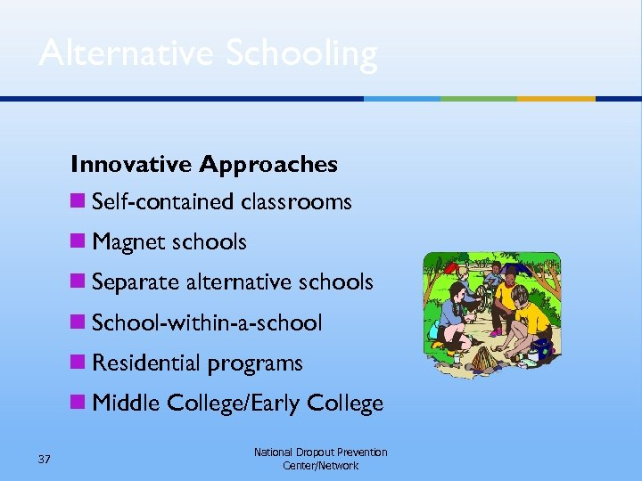 Alternative Schooling Innovative Approaches n Self-contained classrooms n Magnet schools n Separate alternative schools