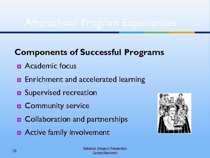 Afterschool Program Experiences Components of Successful Programs ¥ ¥ Enrichment and accelerated learning ¥