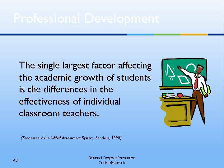 Professional Development The single largest factor affecting the academic growth of students is the