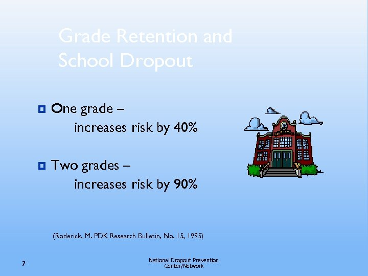 Grade Retention and School Dropout ¥ One grade – increases risk by 40% ¥
