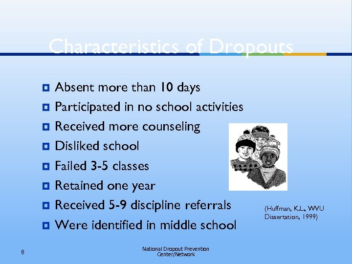 Characteristics of Dropouts ¥ ¥ ¥ ¥ 8 Absent more than 10 days Participated