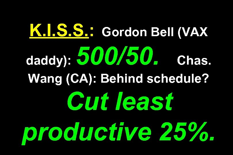 K. I. S. S. : Gordon Bell (VAX 500/50. daddy): Chas. Wang (CA): Behind