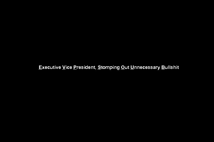 Executive Vice President, Stomping Out Unnecessary Bullshit
