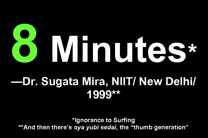 8 Minutes* —Dr. Sugata Mira, NIIT/ New Delhi/ 1999** *Ignorance to Surfing **And then