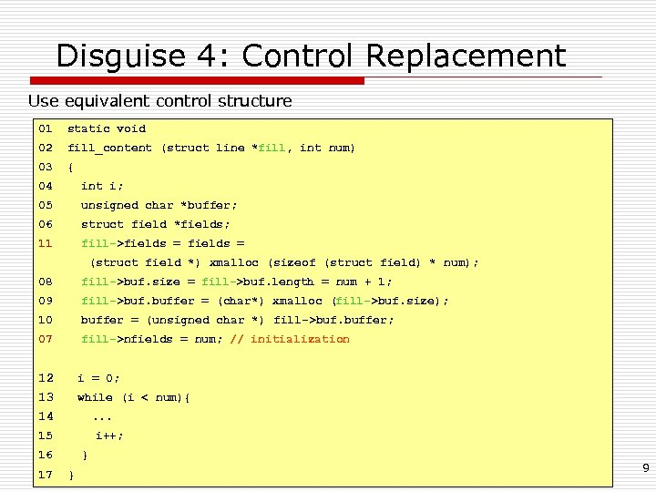 Disguise 4: Control Replacement Use equivalent control structure 01 static void 02 fill_content (struct