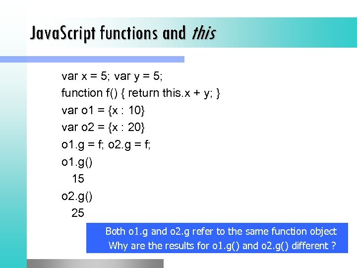 Java. Script functions and this var x = 5; var y = 5; function