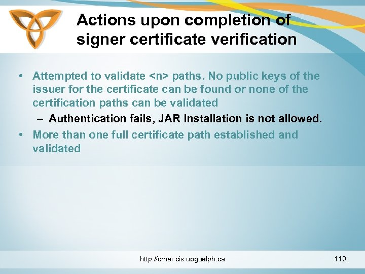 Actions upon completion of signer certificate verification • Attempted to validate <n> paths. No