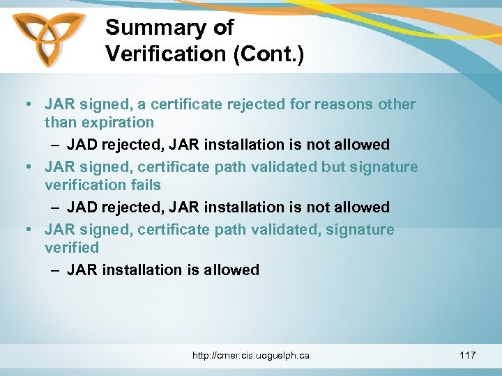 Summary of Verification (Cont. ) • JAR signed, a certificate rejected for reasons other