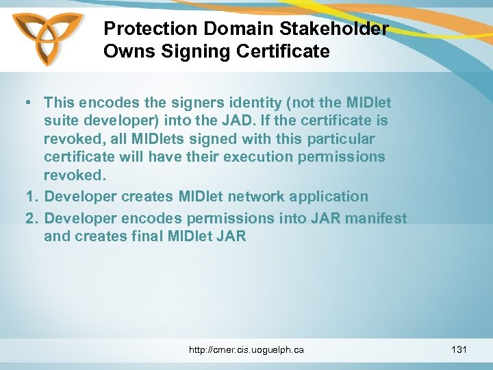 Protection Domain Stakeholder Owns Signing Certificate • This encodes the signers identity (not the