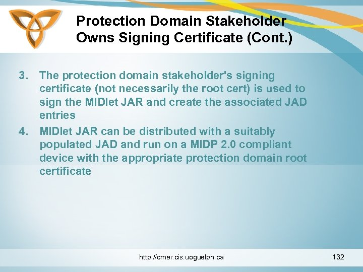 Protection Domain Stakeholder Owns Signing Certificate (Cont. ) 3. The protection domain stakeholder's signing