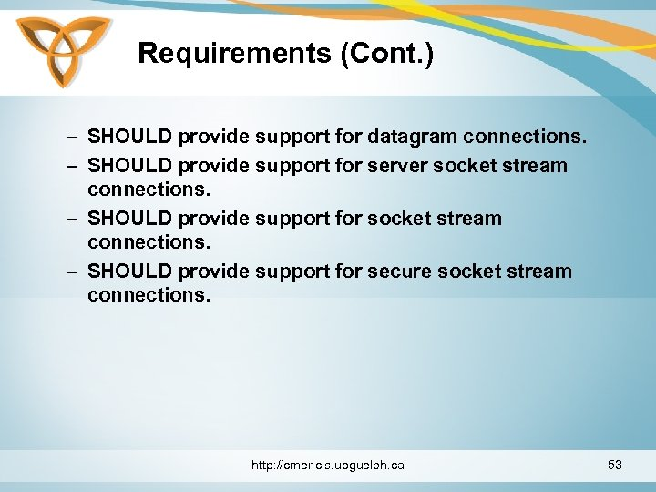 Requirements (Cont. ) – SHOULD provide support for datagram connections. – SHOULD provide support