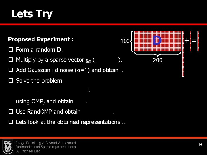 Lets Try Proposed Experiment : 100 q Form a random D. q Multiply by