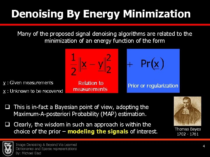 Denoising By Energy Minimization Many of the proposed signal denoising algorithms are related to