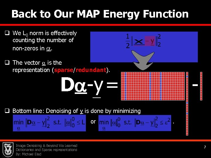 Back to Our MAP Energy Function q We L 0 norm is effectively counting