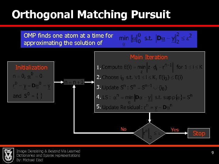 Orthogonal Matching Pursuit OMP finds one atom at a time for approximating the solution