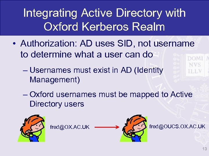 Integrating Active Directory with Oxford Kerberos Realm • Authorization: AD uses SID, not username